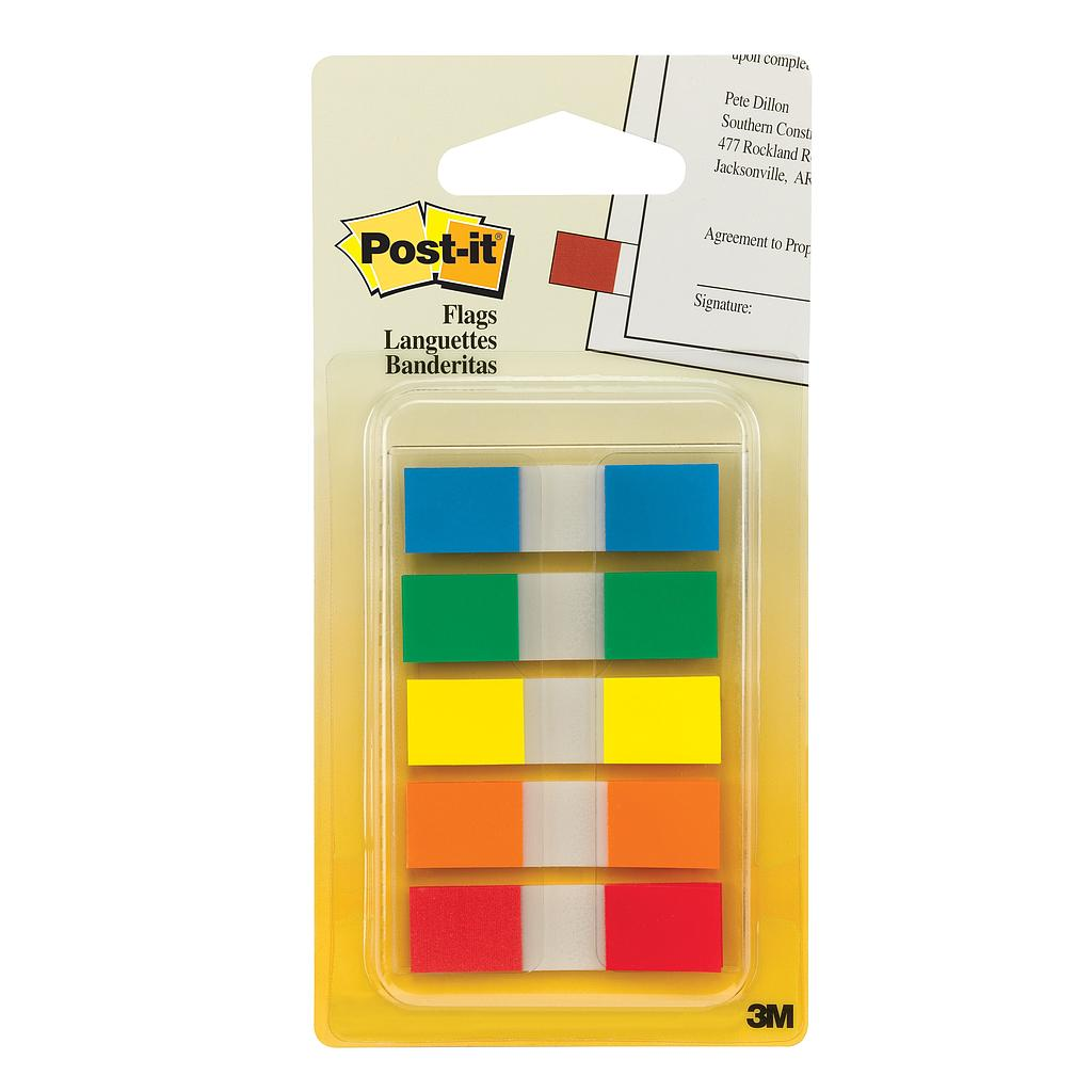 3M Post it flags 683-5CF 報事貼, 12 x 44mm, 透明身, 5色頭, 100張